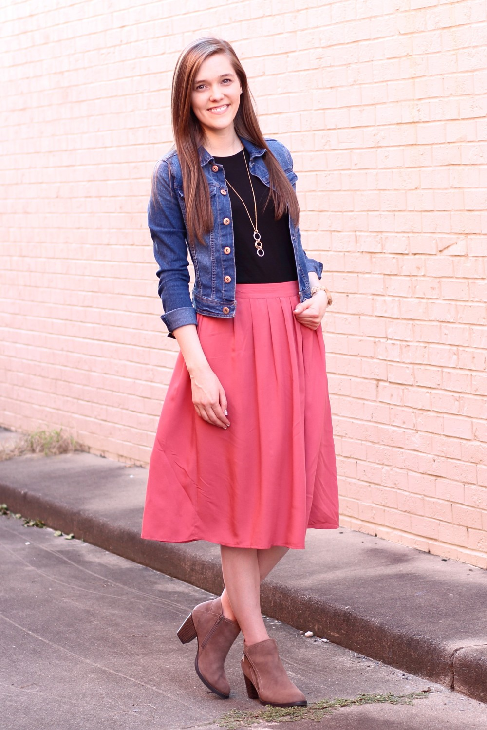 Modest Casual Outfit Idea for Church//Denim Jacket//Black Tee//Red/Orange/Midi Skirt//Ankle Boots//Fall Style Inspiration//Cute//Modern//Simple//Pretty//Classy