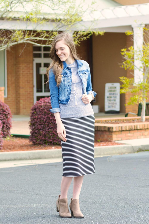 1724a93ac7 Modest Casual Outfit Idea For Church//Denim Jacket//Gray Tee//